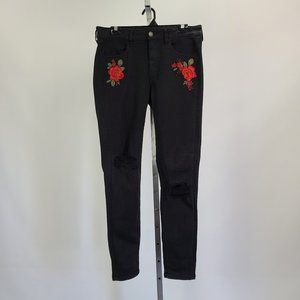 AEO Black Embroidered High Waisted Denim Size 12